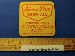 One Vintage Simon Pure Beer Ale Beer Coaster Red On One Side Green On The Othe