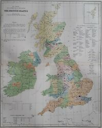 1868 Victorian Population Map Of British Isles. Over 150 Yrs Old. 770
