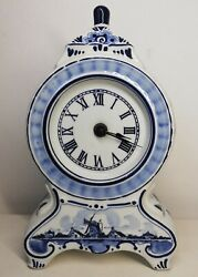 Rare Clock Delfts Blue Handgemaakt Made In Holland Ag Vintage Déco Collection