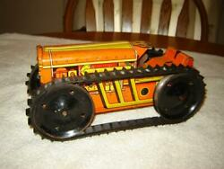 Vintage Marx Tin Wind Up Bulldozer Works Very Good Condition No Plow Nice
