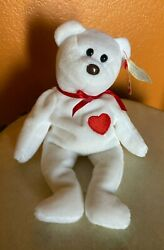 Valentino Ty Beanie Baby With Black Eyes And Brown Nose, Tag Errors, Pvc Pellets