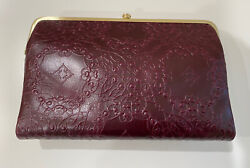 NEW HOBO Women#x27;s Embossed Leather Leanne Crossbody Bag Deep Plum $168.00