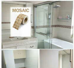 Black Mosaic Self Adhesive Wall Sticker Kitchen Bathroom Home Decor 2 Rolls