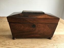 Antique Georgian Mahogany Sarcophagus Tea Caddy With Twin Caddies And Mixing Bowl.