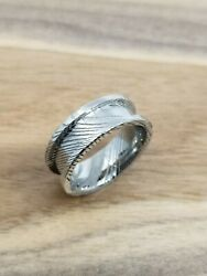 Size 11 Ring Damascus Steel Blank Stainless Steel 8mm Wide Etched Channel Ring