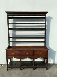 Antique Wood Hutch Buffet Console Shabby Chic County Traditional Display Case