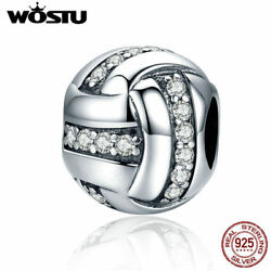 Wostu 925 Sterling Silver Baseball Charms With Cz Fit For European Bead Charms