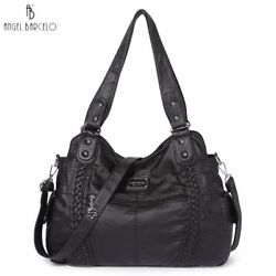 Angel Barcelo Hobo Women Soft PU Leather Handbag Large Satchel Tote Shoulder Bag $31.89