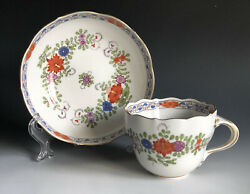 Meissen Porcelain Indian Flowers Painting Kakiemon Coffee/ Teacup And Saucer -a