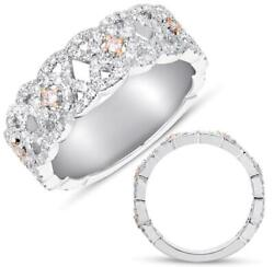 Wide .65ct Diamond 14kt Rose And White Gold 3d Xo 3/4 Eternity Anniversary Ring