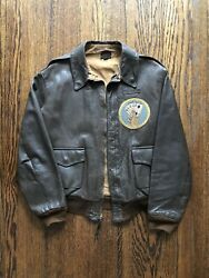 Ww2 A-2 Leather Flight Jacket Named Rare 2nd Command Control Squadron Patch