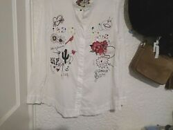 Desigual Learn To Love Embroidered Cotton Button Down L/s Shirt L/xl