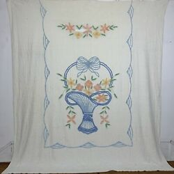Vintage Cotton Chenille Queen Full Bedspread Floral Basket As Is Cutter Fabric