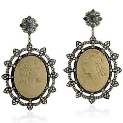 Natural Carved Cameo Earrings Diamond 18k Gold Sterling Silver Jewelry