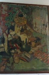 Unusual Folk Art Oil On Canvas Antiques Bought And Sold Signed And Dated 1932