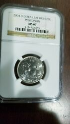 2004-d Wisconsin State Quarter Extra Leaf High Ngc Ms-67