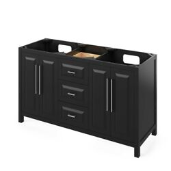 60 Cade Black Double Bowl Sink Bathroom Vanity + 5 Soft-close Drawers In Middle