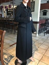Dkny Very Long Maxi Double Breasted Black Coat Wool Cashmere Blend 12