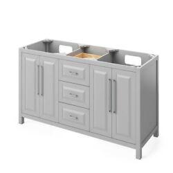 60 Cade Gray Double Bowl Sink Bathroom Vanity + 5 Soft-close Drawers In Middle