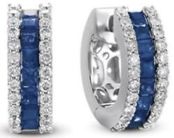 1.60ct Diamond And Aaa Sapphire 14kt White Gold 3d 3 Row Huggie Hanging Earrings