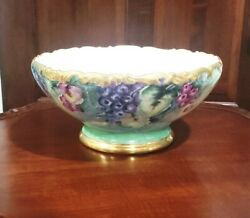 Antique T And V Limoge Handpainted Grapes Heavy Gold Trim Punch Console Bowl