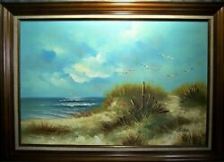 Vintage SEASCAPE Oil Canvas BEACH Sand BIRDS 42 W x 30 H by Carlson VERY NICE $125.00
