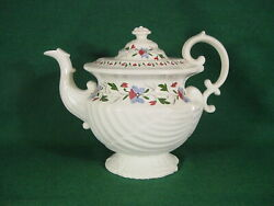 9thc Enoch Wood Teapot Shell Green Blue Red Flower Antique Staffordshire Marked