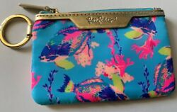 Nwt Lilly Pulitzer Key Id Case Shorely Blue Sandstorm Fish Coral