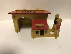 Vintage Bumpa Wooden Service Station Garage With 2 Gas Pumps Toy Mobil Station