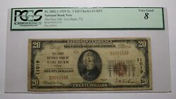20 1929 Tom Bean Texas Tx National Currency Bank Note Bill Ch. 11019 Vg8 Pcgs
