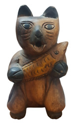 Vintage Carved Wood Statue Cat Carrying Fish Figurine Handmade Unique Antique