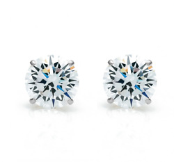1ct Diamond Stud Earrings 14k White Gold Natural Round Cut Gia Certified