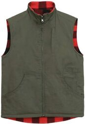 Menand039s Reversible Casual Vest Flannel Fleece Lined Outdoor Work Safari Fishing Tr