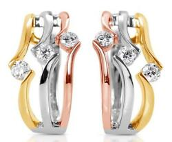 .54ct Diamond 14kt Tri Color Gold 3d 3 Stone Diagonal Clip On Hanging Earrings
