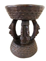 African Dogon Carved Wood Milk Stool Mali 11.25 H