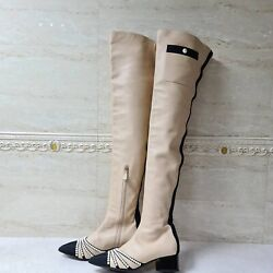 Paris-rome Beige Leather Pearl Chain Over Knee Boots Sz. 38,5