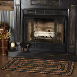 Vhc Farmhouse Black Tan Variegated Country Rectangle Braided Rug W/pad