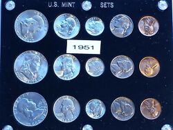Very Scarce 1951 Us Mint Set P S D With Gorgeous Nickels Tone. Beautiful Le425