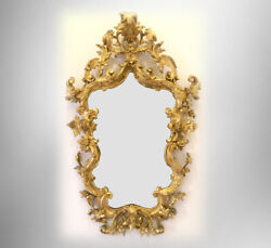 Large Wall Mirror - Venetian With Gilt Gold Foliate Carved Wood Frame