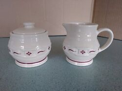 Longaberger Usa Pottery Creamer And Sugar Bowl And Lid Traditional Red New No Box
