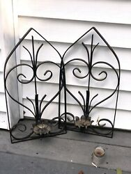 "Wrought Iron Wall Scones Pair Hanging Candle Holder Good Condition 20"" Tall"