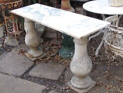 Antique Console Table Cast Iron Balusters With White Marble Top 18 X 54