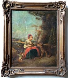 Rare 18thc French Antique Oil Painting Little Red Riding Hood The Wolf In Woods
