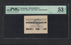 Wwii Germany 1943 Kz Ravensbruck 0.50 Rm Mark Concentration Camp Pmg 53 Ghetto