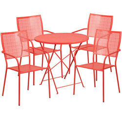 30 Round Coral Steel Folding Patio Table Set With 4 Square Back Chairs