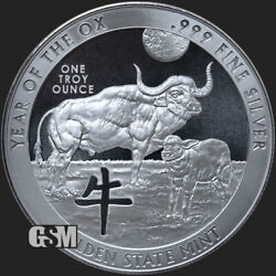 2021 - Year Of The Ox Celtic Animals Bu .999 1 Oz .999fine Silver Round In Stock