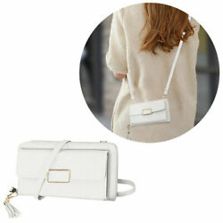 Leather Clutch Wallet Crossbody Purse with Dedicated Phone Slot White $22.00