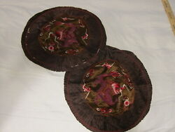 Vintage Pair 1940's Chinese Silk Embroidered Dragon Pillow Cover Round Brown