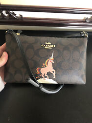 NWT COACH C1654 Zip Top Crossbody In Signature Canvas With Unicorn Brown Black $95.99