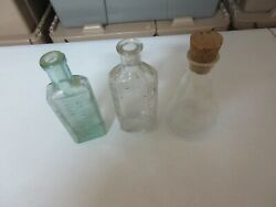 Rx , Drugstore , Old Glass Bottles / Flask , Vintage , Collectible , Lot Of 3